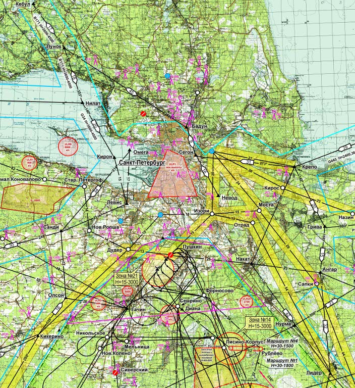 Airspace map of Pushkin airfield's district medium rus